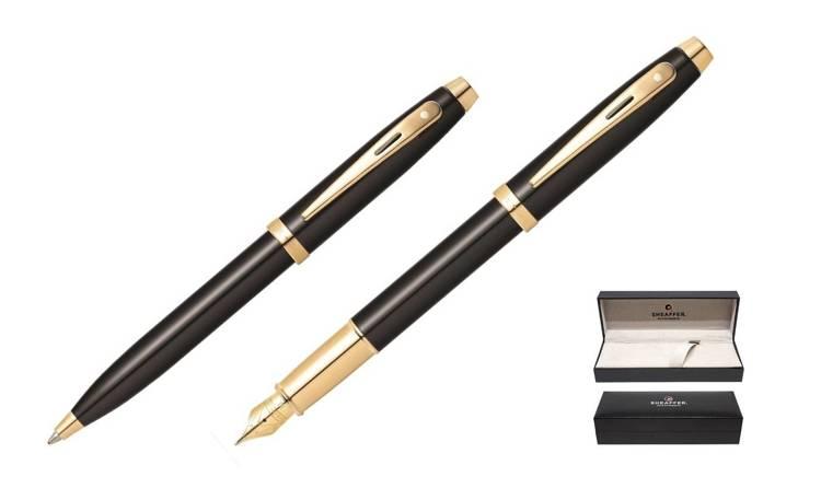 9322 Zestaw (pióro wieczne i długopis) Sheaffer kolekcja 100, czarne, wykończenia w kolorze złotym