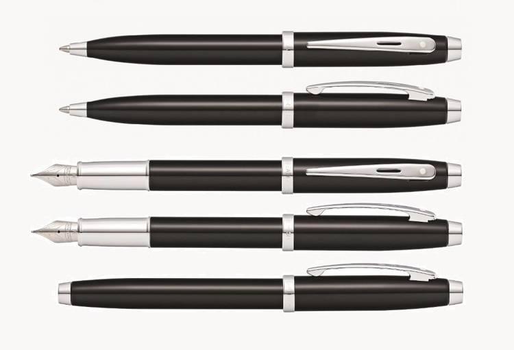9338 Zestaw (pióro wieczne i długopis) Sheaffer kolekcja 100, czarne, wykończenia chromowane