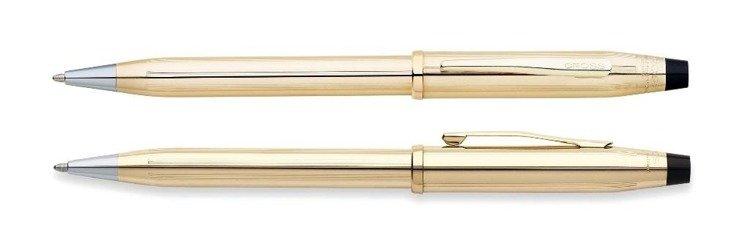 Długopis Cross Century II pokryty 10k złotem, elementy anodyzowane 23k złotem