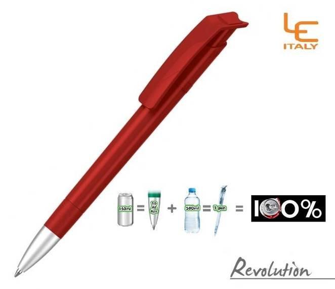Długopis LE ITALY Revolution solid ALrPET czerwony