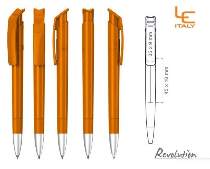 Długopis LE ITALY Revolution solid ALrPET pomarańczowy