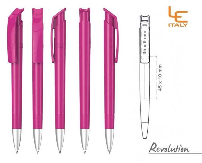 Długopis LE ITALY Revolution solid ALrPET różowy
