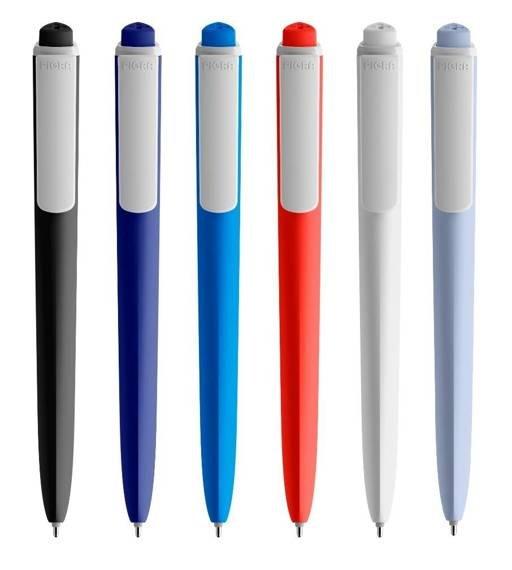 Długopis PIGRA P02, niebieski z białym klipsem