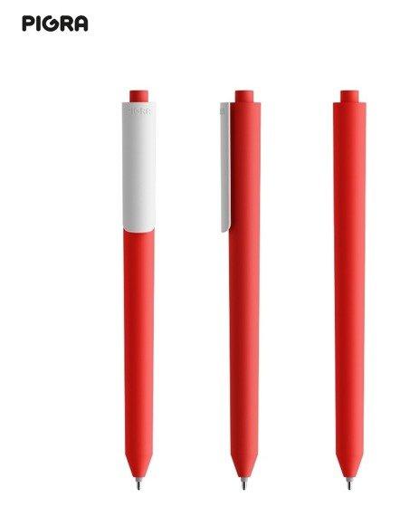 Długopis PIGRA P03, czerwony z białym klipsem