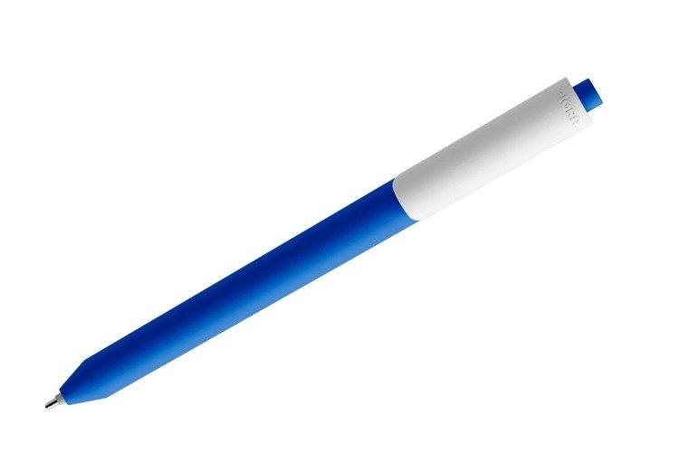 Długopis żelowy PIGRA P03, ciemnoniebieski z białym klipsem