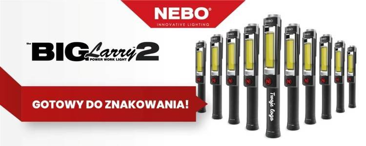 NEBO Duża latarka Big Larry 2, 500 lumenów, czarna - dużo miejsca na Twoje Logo