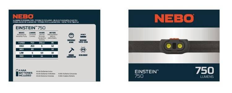 NEBO® Latarka-czołówka Einstein™ 750 lumenów