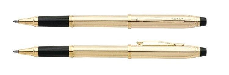 Pióro kulkowe Cross Century II pokryte 10k złotem, elementy anodyzowane 23k złotem