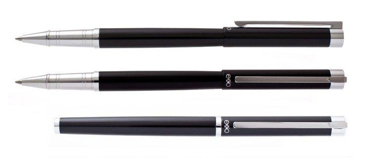 Pióro kulkowe EXO Vela, czarny, wykończenia chromowane