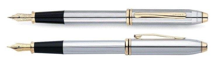 Pióro wieczne Cross Townsend chromowane, elementy pokryte 23k złotem