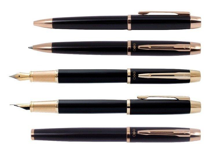 Zestaw (pióro wieczne i długopis) EXO Aries, czarny, wykończenia złote